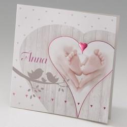 Faire-part de naissance fantaisie fille coeur pieds Belarto Baby Dreams 715031