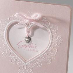 Faire-part de naissance chic fille rose coeur Belarto Baby Dreams 715044