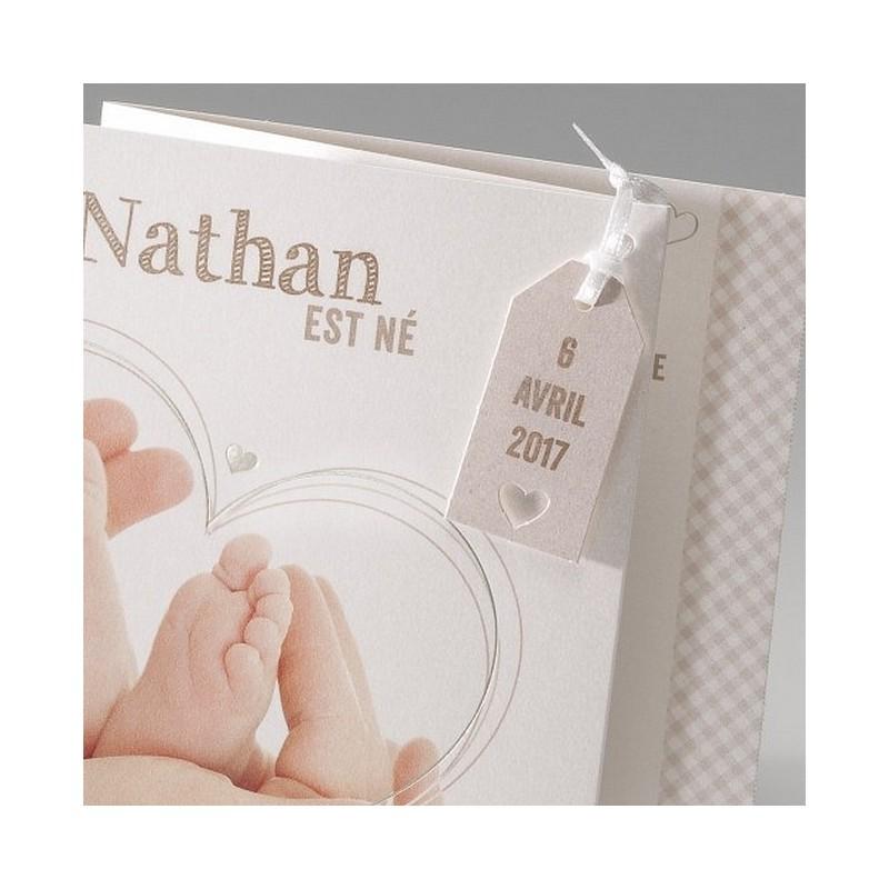 faire part de naissance fantaisie coeur pieds belarto baby dreams 715100. Black Bedroom Furniture Sets. Home Design Ideas
