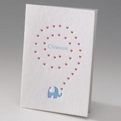 Faire-part de naissance garcon elephant dorure bleue Belarto Baby Dreams 715108