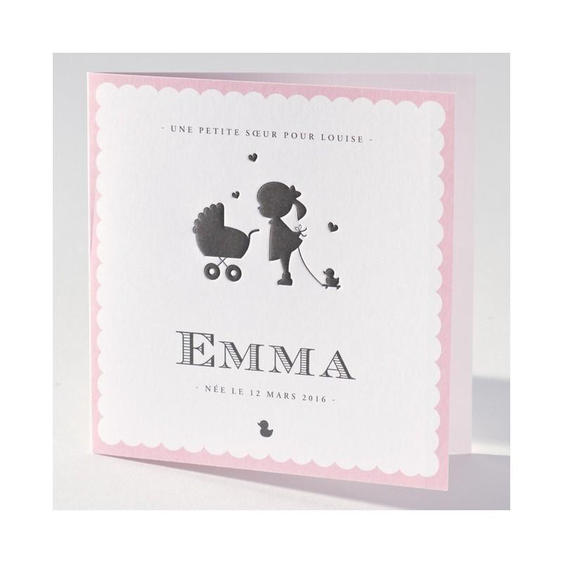 faire part de naissance chic fille rose petite soeur. Black Bedroom Furniture Sets. Home Design Ideas