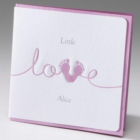 Faire-part de naissance fille pieds love rose Belarto Baby Dreams 715004