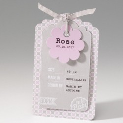Faire-part de naissance vintage fille rose ruban Belarto Baby Dreams 715014