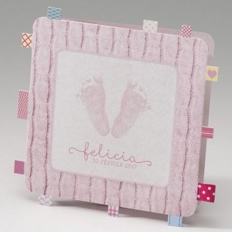 Faire-part de naissance original fille rose pieds Belarto Baby Dreams 715016