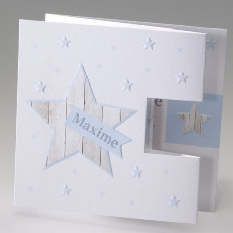 Faire-part de naissance elegant garcon bleu etoile Belarto Baby Dreams 715037