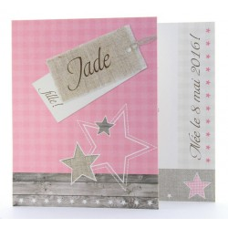 Faire-part de naissance vintage fille rose Belarto Happy Baby 715911