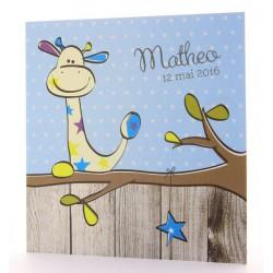 Faire-part de naissance humoristique garcon girafe dans arbre Belarto Happy Baby 715929
