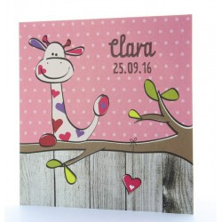 Faire-part de naissance humoristique fille girafe dans arbre Belarto Happy Baby 715928