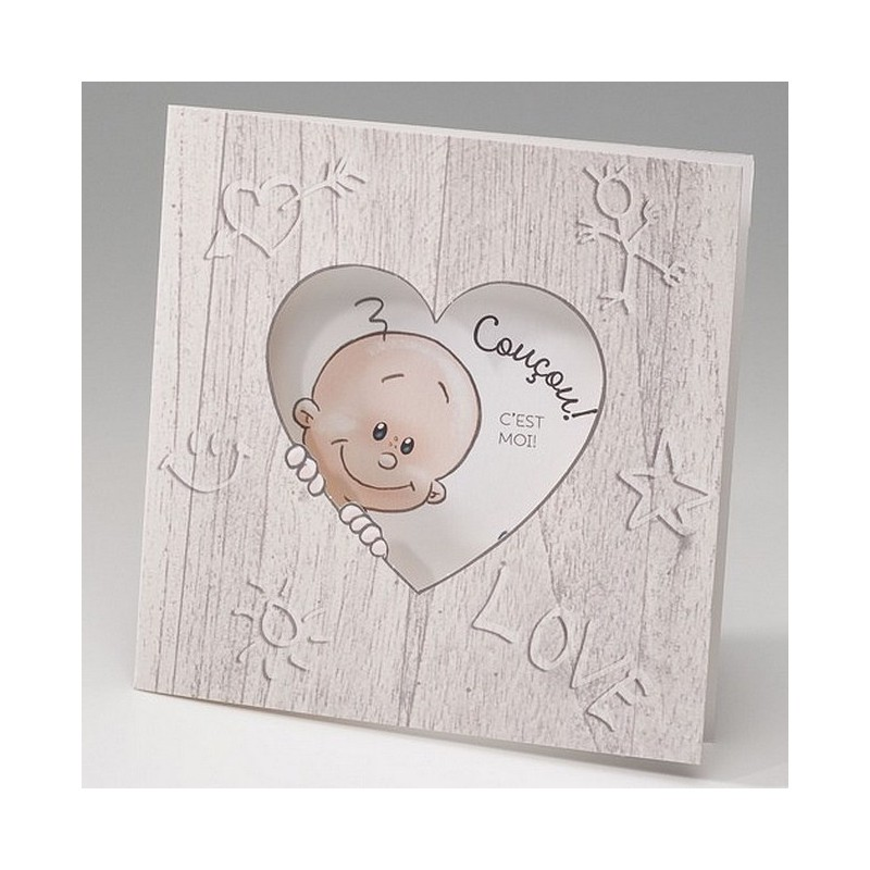 faire part naissance humoristique bebe dans coeur belarto happy baby 715024. Black Bedroom Furniture Sets. Home Design Ideas