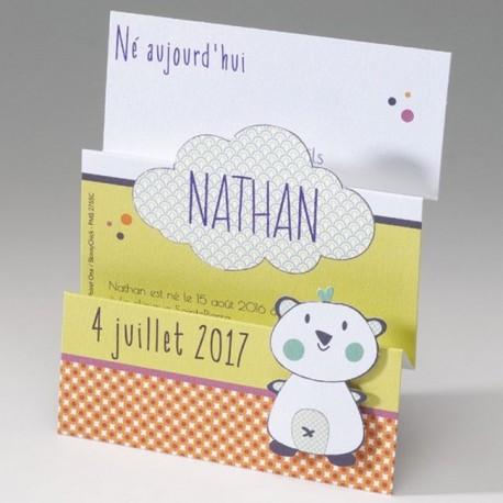 Faire-part naissance fantaisie depliant peluche Belarto Happy Baby 715034