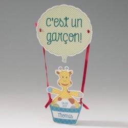 Faire-part naissance fantaisie girafon dans montgolfiere Belarto Happy Baby 715035