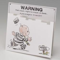 Faire-part naissance humoristique bebe bagnard Belarto Happy Baby 715050