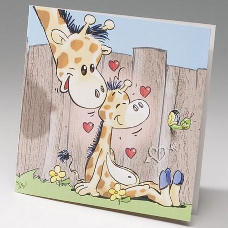 Faire-part naissance humoristique girafe et girafon Belarto Happy Baby 715053