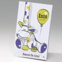 Faire-part naissance humoristique vache mauve et verte Belarto Happy Baby 715060