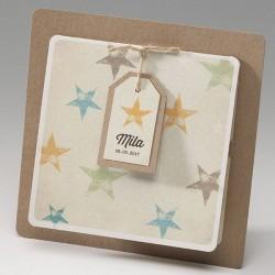 Faire-part naissance vintage etoiles Belarto Happy Baby 715069