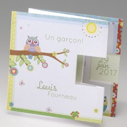 Faire-part naissance fantaisie depliant chouette Belarto Happy Baby 715085