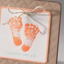 Faire-part naissance marron peids orange fluo  Belarto Happy Baby 715101