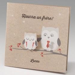Faire-part naissance fantaisie maman hibou et son petit  Belarto Happy Baby 715104