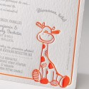Faire-part naissance viantage girafe fluo orange Belarto Happy Baby 715123