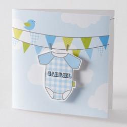 Faire-part de naissance garçon body bleu Buromac Baby Folly 584.074