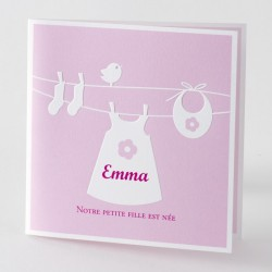 Faire-part de naissance fantaisie fille rose Buromac Baby Folly 584.077