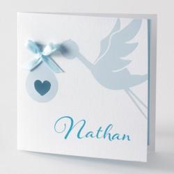 Faire-part de naissance bleu cigogne noeud Buromac Baby Folly 584.087