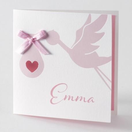 Faire-part de naissance rose cigogne noeud Buromac Baby Folly 584.088