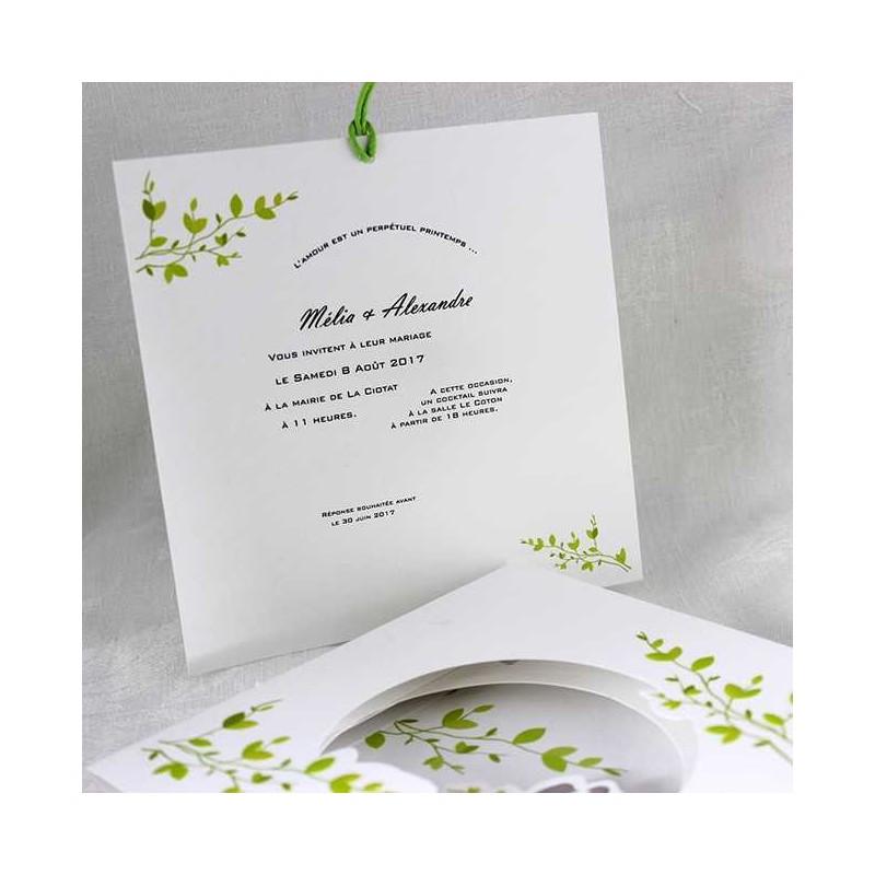 faire part mariage pop up nature vert faire part select tandem 49449 01concept. Black Bedroom Furniture Sets. Home Design Ideas