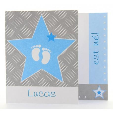 Faire-part de naissance depliant garcon etoile pieds Belarto Baby Dreams 715913