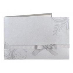 Faire part de mariage chic gris arabesque ruban Buromac la vie en rose 104.012