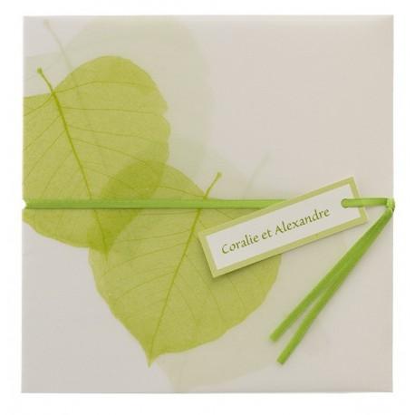 Faire-part de mariage elegant vert feuille nature Buromac Papillons 103.064