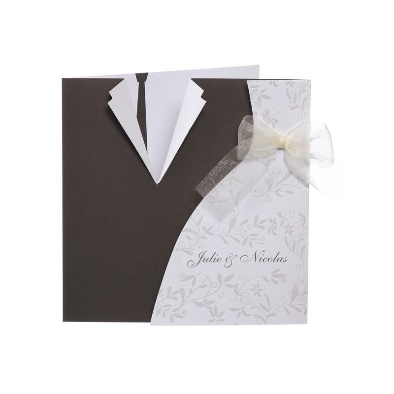faire part mariage noir blanc mousselline buromac papillons. Black Bedroom Furniture Sets. Home Design Ideas