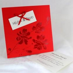 Faire part mariage chic rouge fleurs  faire part select tandem 49120