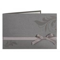 Faire part de mariage classe gris arabesque ruban Buromac la vie en rose 104.011