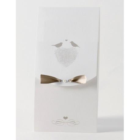 Faire-part de mariage original nid petit oiseau Buromac Papillons 105.001