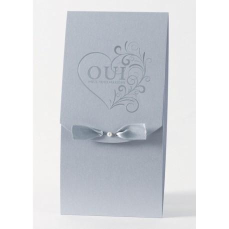 Faire-part de mariage fantaisie gris arabesque Buromac Papillons 105.003
