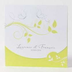 Faire-part de mariage elegant arabesque florales Buromac Papillons 105.005