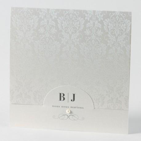 Faire-part de mariage vintage creme arabesque Buromac Papillons 105.007