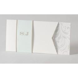 Faire-part de mariage blanc chic perle  Buromac Papillons 105.010