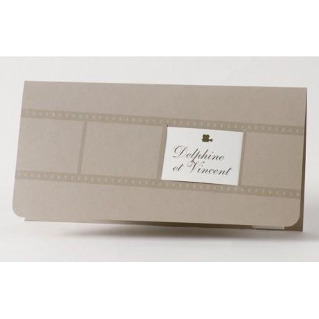 Faire-part de mariage pochette bronze cinema Buromac Papillons 105.012