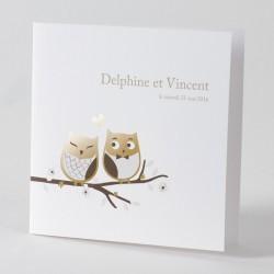 Faire-part de mariage fantaisie couple chouette dorure or  Buromac Papillons 105.014