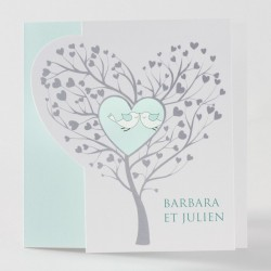 Faire-part de mariage chic coeur arbre Buromac Papillons 105.015