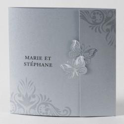 Faire-part de mariage chic gris papillon en dorure Buromac Papillons 105.016