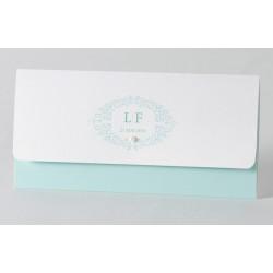 Faire-part de mariage chic turquoise perle Buromac Papillons 105.018