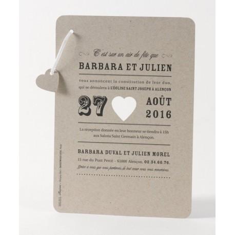 Faire-part de mariage vintage marron coeur Buromac Papillons 105.021