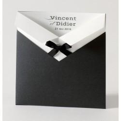 Faire-part de mariage gay pochette noir noeud Buromac Papillons 105.026
