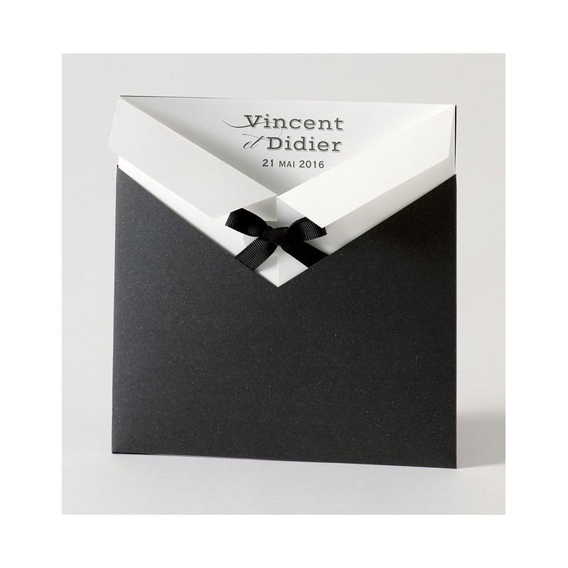 faire part de mariage gay pochette noir noeud buromac papillons. Black Bedroom Furniture Sets. Home Design Ideas