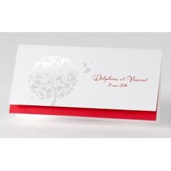 Faire-part de mariage fantaisie rouge arbre dorure  Buromac Papillons 105.027