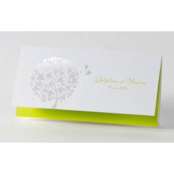 Faire-part de mariage fantaisie vert anis arbre dorure Buromac Papillons 105.029
