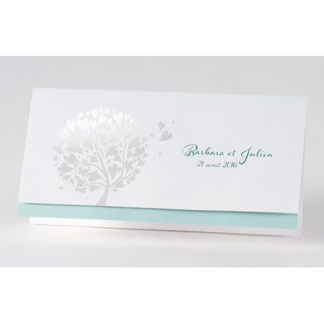 Faire-part de mariage fantaisie turquoise arbre dorure Buromac Papillons 105.030
